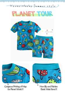 Toddler Kids Girl Boy Short Sleeve Sleepwear Set Planet Tour