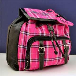 XOXO Black Pink Plaid BackPack Bag Hobo Handbag 047417066915