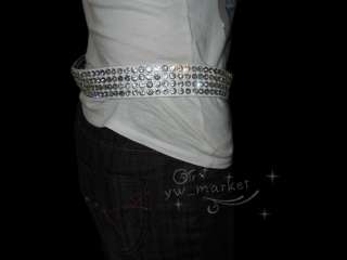 Bling Rhinestone Crystal Leather Women Waist Belt #116 white