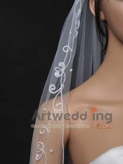 1T New White Tulle Fingertip Wedding Bridal Veil Headpieces with Pearl