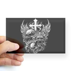 Sticker Clear (Rectangle) God Is My Judge Skulls Cross and Angel Wings