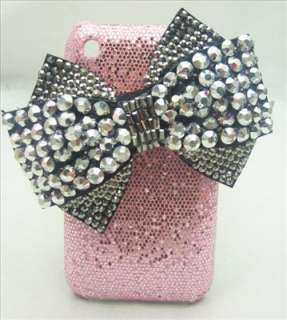 PK21 Bling Shiny Black Bow Pink Hard Back Case Cover for iPhone 3G 3GS