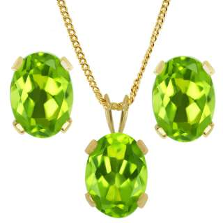 40 Ct Oval 7X5mm Green Peridot Gold Plated Earrings Pendant Set