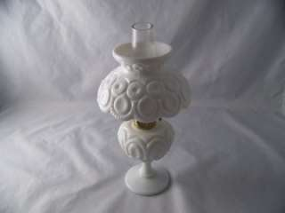 WRIGHT MOON AND STAR MILK GLASS MINI OIL LAMP, # 44 MI, EXCELLENT