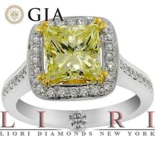 34 CARAT GIA CERTIFIED NATURAL FANCY YELLOW DIAMOND ENGAGEMENT RING