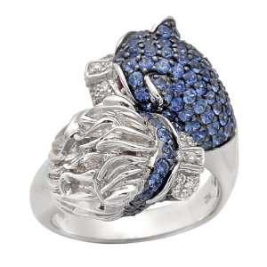 Gold Diamond Blue Sapphire Lion Ring, Size 7 (0.16 cttw) Jewelry