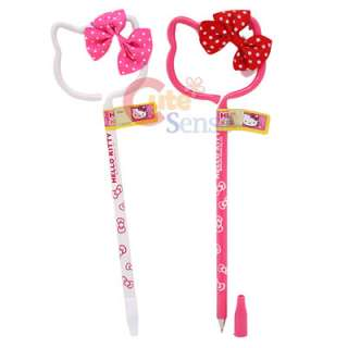 Sanrio Hello Kitty Face Ball Point Pen Set w/3D Bow 2pc