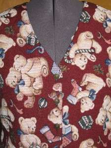 Womens Bobbie Brooks Christmas Teddy Bear Vest Medium