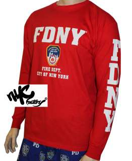 MENS FDNY RED FIRE DEPT NEW YORK CITY OFFICIAL LICENSED LONG SLEEVE
