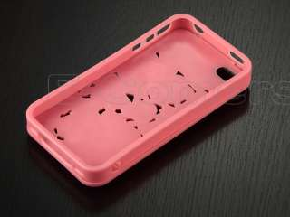 Pink 3D Sculpture Design Rose Flower Case Cover for iPhone 4 4S