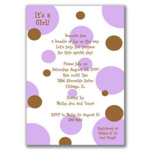 Polka Dots Invitations Brown Purple Baby Shower Girls