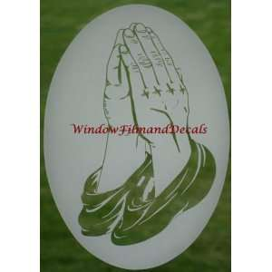 Praying Hands Etched Window Decal Vinyl Glass Cling   10.5