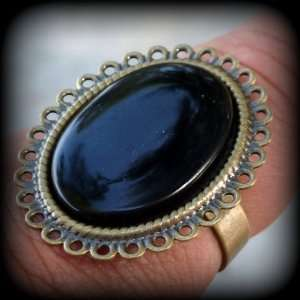 Dark Shadows BARNABAS COLLINS Ring black onyx ADJUSTABLE