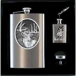 Whitetail Deer Buck 3 Piece Flasks & Funnel Gift Set with