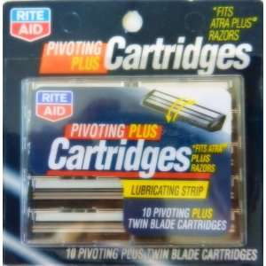 , 10 Pivoting Plus Twin Blade Cartridges With Lubricating Strip