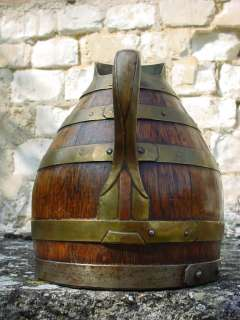 ANTIQUE FRENCH WOODEN & COPPER WINE PITCHER/JUG |