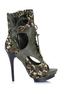 Wild Rose Military Dress Camouflage Ankle Bootie Trey23