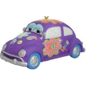 Purple 60s Flower Power Volkswagon Bug Ornament.Windshield Eyes