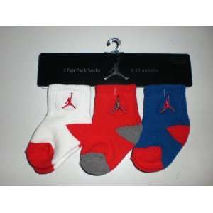 Air Jordan Newborn Baby Socks White, Red, & Blue W/classic Jordan Air