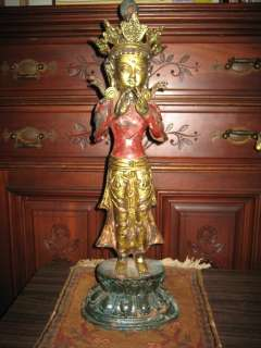 Antique Tibetan Buddhist Iron Standing Buddha Statue 11tallX81/2