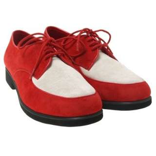 MENS GB RED & WHITE SUEDE DANCE LIGHT SHOES POPPIN SZ 9
