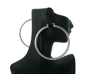 Basketball Wives POParazzi Hoop Earring Silver LXE22R 70mm