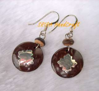 Earrings, Coconut Shell, Inlaid Sterling Silver 92.5