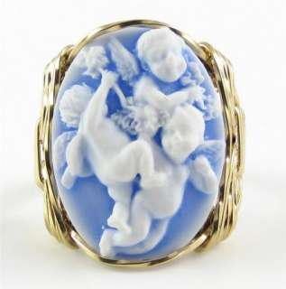 Baby Cherubs Angel Cameo Ring 14K Rolled Gold