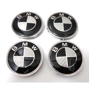 New 4 X BMW Black Carbon Fiber Wheel Center Caps, Badge