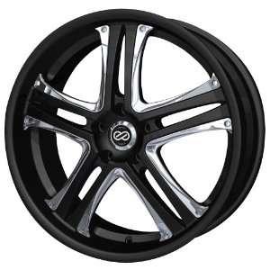 18x8 Enkei AKP (Black w/ Chrome Trim) Wheels/Rims 5x114.3