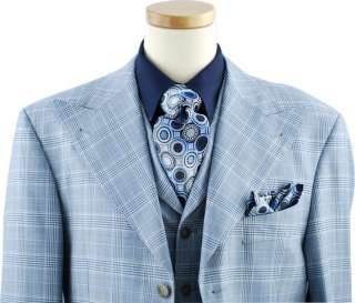 MASTELONI~SKY BLUE/WHITE PLAID VESTED SUIT~SZ 50L