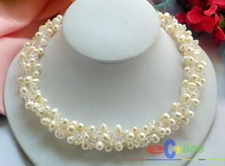 3ROW WHITE RICE FW CULTURED PEARL CRYSTAL NECKLACE