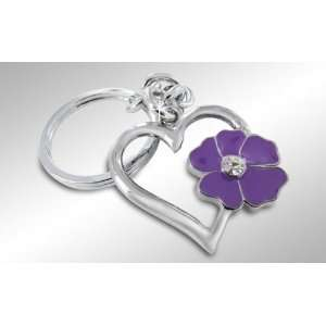Heart and Flower Key Chain Keychain Key Ring with Crystals Automotive