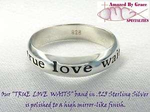 Sterling Silver TRUE LOVE WAITS Ring   Size 5 thru 9
