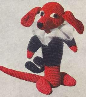 Vintage Crochet PATTERN Dog Dachshund Soft Toy Animal