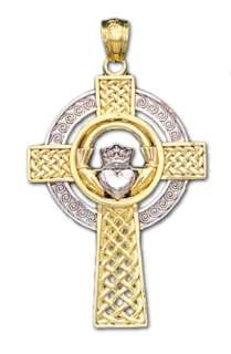 New Gold Irish Celtic Claddagh Cross Pendent Necklace