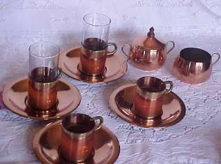 10 PC. Copper Coffee Set Cups Cream Sugar Saucers Beucler
