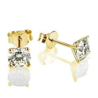 GENUINE 1.8 CARAT ROUND CUT DIAMOND 14K WHITE GOLD BETROTHAL STUD