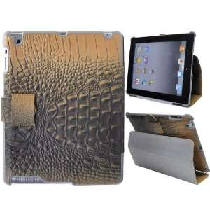 New Crocodile Skin Stand Flip Leather Case Cover for iPad 2(Orange)
