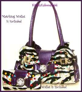 PURPLE RUFFLE ZEBRA ANIMAL PRINT RHINESTONE HEART BOW PURSE HANDBAG