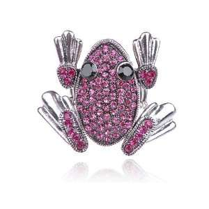 Pink Crystal Rhinestone Funny Cartoon Leaping Frog Toad Ring Jewelry