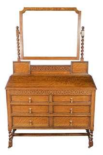Antique English Oak Mirrored Dressing Table Barleytwist