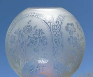 Beautiful Antique Floral Panel Acid Etched Oil Lamp Shade 4 D