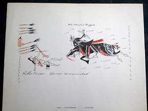 RARE Vintage PLAINS LEDGER ART Native American Indian Plate 12 KILLS