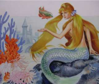 The Little Mermaid Original Cover Art Painting Signed Jeanne Voelz
