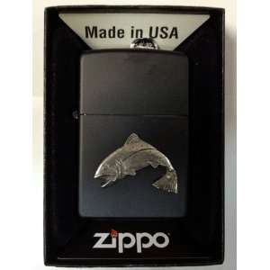 Zippo Custom Lighter   Fish Fishing Fisherman Jumping Emblem Logo