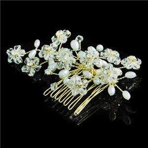 Bridal Flower Pearl Hair Comb Tiara Clear Rhinestone Crystal Floral