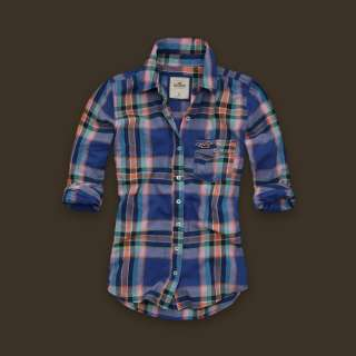 NWT Hollister Bettys Plaid Button Down Shirt Top M NEW