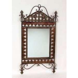 Rust finish metal lattice wall mirror