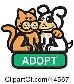Cat With His Arm Around A Cute White Dog On An Adopt Internet Web Icon